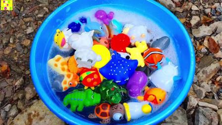 野生动物园动物玩具宝宝和妈妈学习动物名称和儿童教育玩具