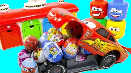 红色大汽车运输小汽车打开车库发现奇趣蛋
