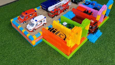 好玩有趣的工程车动手搭建彩色积木桥,快乐认识新玩具