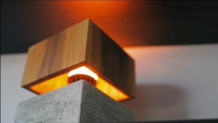 自己动手DIY—水泥加木头手工制作的混泥土木艺灯,摆在桌上还真不错