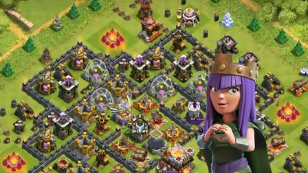 部落冲突:幸运的女王哪怕被地狱塔盯上也会瞬间哑火