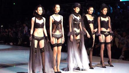 黑色内衣秀,5位模特款款走来,真的太美了