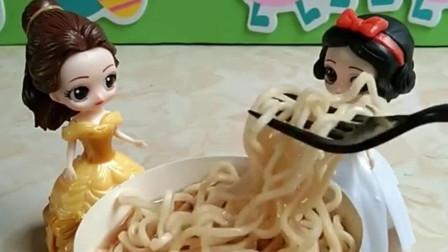 少儿益智亲子玩具:白雪把面吃完了,吃饱了吗?