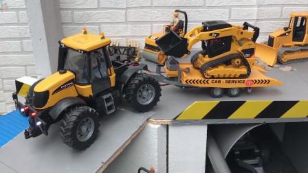 拖拉机工程车挖掘机推土机,拖拉机运送沙土!