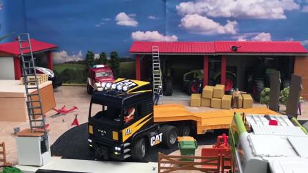 红色皮卡车运送砖头到工地去,儿童颜色学习!