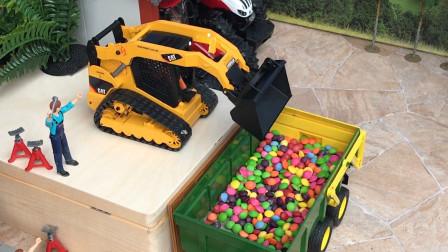 拖拉机拉了满满一车巧克力豆,这是要送到哪儿去啊?