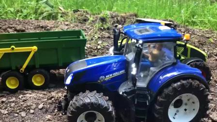 蓝色拖拉机陷进泥坑,绿色拖拉机来救援,儿童颜色学习!