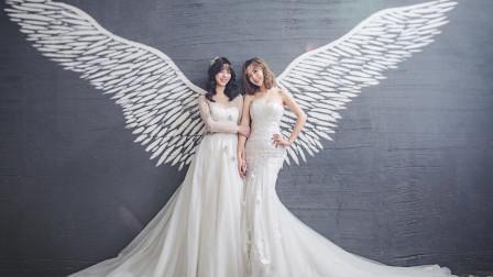 双胞胎姐妹拍唯美写真,演绎两种婚纱风格~