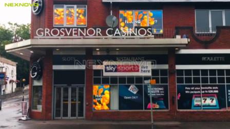 NEXNOVO晶泓科技-英国赌场广告窗透明LED显示屏项目