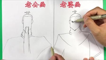 夫妻画哪吒父亲李靖,结果画出一个正派和一个反派,太逗了!