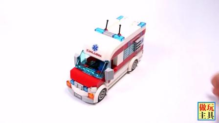 积木组装的消防直升机玩具
