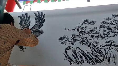 壁画欣赏:《雄鹰图》画得真是妙笔生花,栩栩如生,真是个高手!