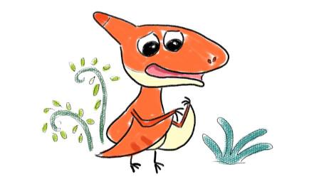 来自恐龙世界的无齿小翼龙儿童卡通简笔画