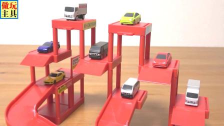 小跑车和厢式货车在停车场