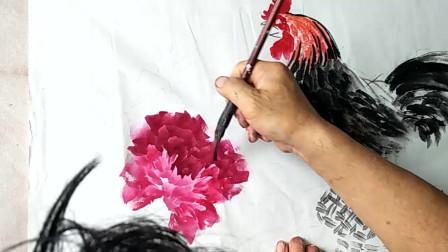 民间艺人国画欣赏:教你小幅写意牡丹的画法,用笔要灵活!