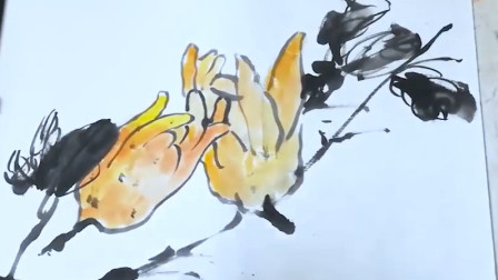 写意国画佛手的画法,手把手教你画,2分钟就学会,学不会不要钱!