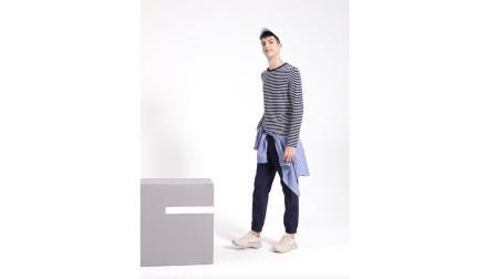 Baleno班尼路长袖条纹T恤,舒适百搭,触感亲和(简一)