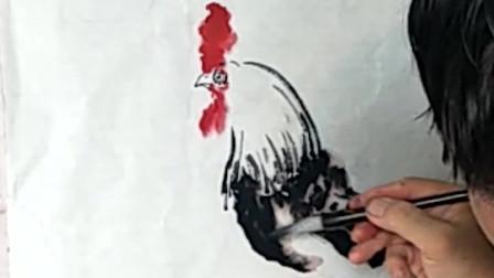 民间老画匠水墨画欣赏:还不会画公鸡,看看他是怎么画的吧!