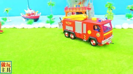 很完美的消防车和越野车玩具