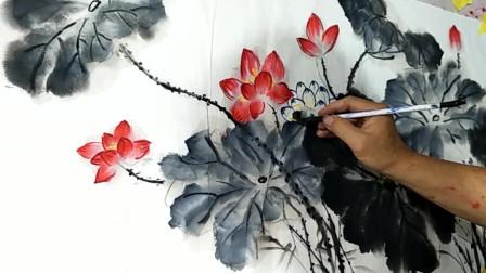 民间老画匠教你画一幅写意荷花,色彩饱满,层次鲜明!