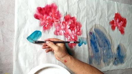 国画创作示范牡丹,震惊的不是技艺,而是国画的魅力!