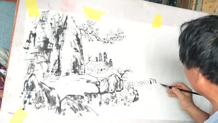 国画创作示范,老师现场作画《山间小屋》,这水平怎么样?