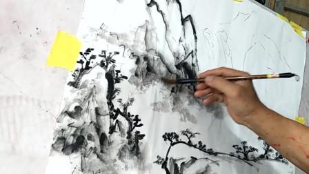 国画教学:民间艺人画山石,步骤清晰明了,供初学者参考学习!