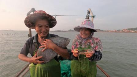 泰叔赶海抓到七八斤的大货,长的大桶都放不下,夫妻二人乐开了花
