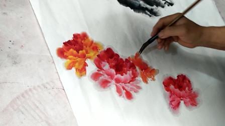国画创作示范:牡丹花,非常漂亮,感兴趣的朋友不要错过哦!