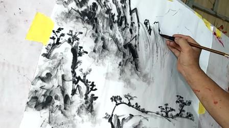 中国水墨画艺术:笔墨功夫到位,这幅山水画真是栩栩如生!