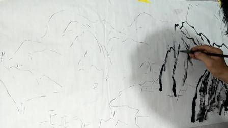 水墨画艺术,石头的写意画法,真是不错,每一个笔触都很生动!