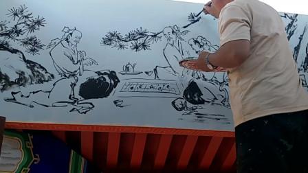国画教程:老师展示水墨画中人物的画法,笔法清晰非常形象!