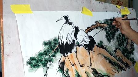 国画创作欣赏,老师现场画松鹤延年图,这笔法真是不错!