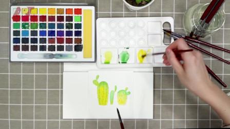 小清新水彩-简单易学的仙人掌
