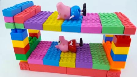 DIY彩虹泥制作,小猪佩奇系列制作双人床