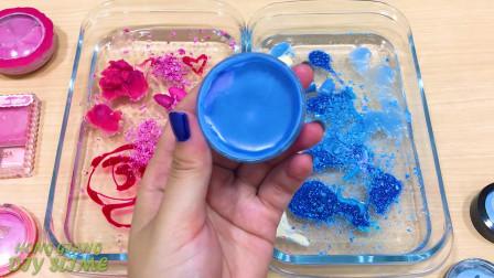 粉色和蓝色把化妆眼影混入透明的煤泥特别系列