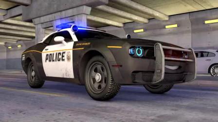 卡通警察警卫救了红宝石热车追逐迈克