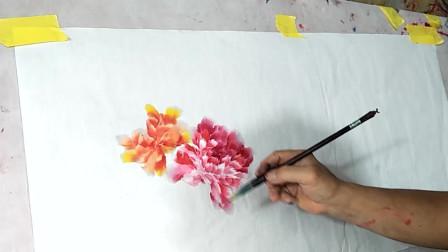 写意牡丹花的完整构图画法,,简单又写意,易学易懂!