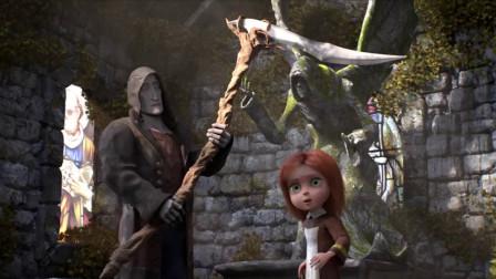 死神刚要收割小女孩的生命,镰刀突然断了,但女孩终究没能幸免