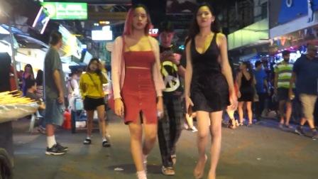 泰国夜间街拍,泰国皮肤白皙的女生还是挺多的,难道是混血吗