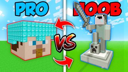 《我的世界》新手VS老手VS神仙 造一个方块房子 超级搞笑有趣的教程