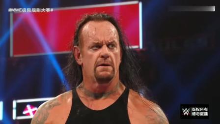 WWE螳螂捕蝉黄雀在后,德鲁欲偷袭葬爷,大狗飞冲肩英勇解围!