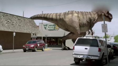 侏罗纪公园2:一群迅猛龙偷袭小镇,后面竟跟了一只这么大的霸王龙!