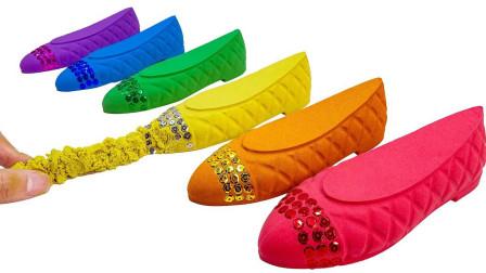 太空沙玩具工厂 DIY制作五颜六色的闪光平底鞋 奇思妙想