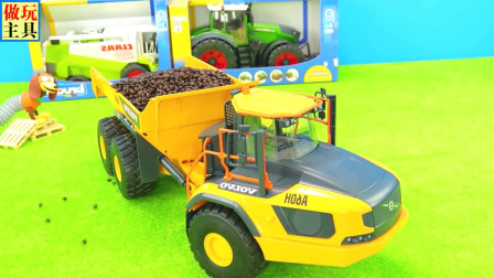 儿童吊车和卡车玩具,工程车很给力