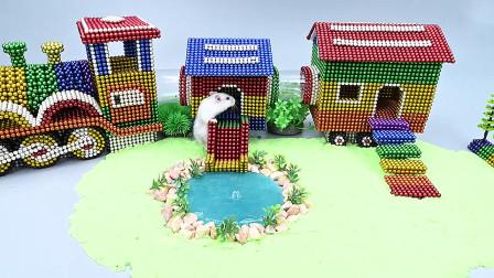 牛人用巴克球制作火车造型仓鼠房子,看完我服了,真是有钱又有闲啊