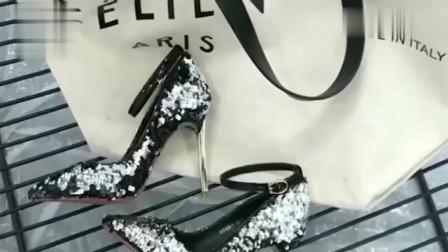 美女试穿尖头金属跟细高跟鞋,高贵时尚知性优雅,女人味十足
