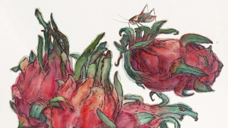 国画老师画火龙果,步骤讲解详细,方法简单,值得收藏!