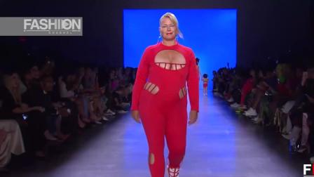 2020纽约时装周CHROMAT品牌泳装秀,大码模特身材有种说不出的时尚魅力