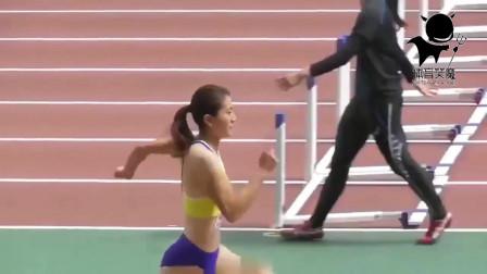 女子跳远比赛:日本女生三级跳远,跳这距离相当可以了吧?